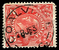 Lot 12992:Coalville: - WWW #20A 'COALVILLE/28JE3?/[VI]C.' on 2d red KGV. [Rated R]  PO 1/8/1888; closed 22/4/1960.