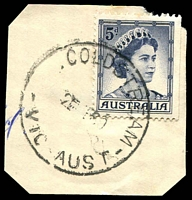 Lot 2806:Coldstream: - WWW #30B '    COLDSTREAM/2???60/VIC-AUST' ('T.O.' removed) on 5d blue QEII. [Rated R]  PO 7/2/1889; LPO 23/7/1993.