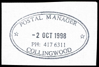 Lot 12874:Collingwood (3): - WWW #1120 56x33½mm double-oval 'POSTAL MANAGER/2OCT1998/PH: 417 6311/*COLLINGWOOD*' (LRD).  PO 15/11/1865.