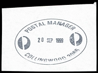 Lot 12875:Collingwood (3): - WWW #1125 oval 'POSTAL MANAGER/20SEP1999/COLLINGWOOD 3066'. [Only recorded date.]  PO 15/11/1865.