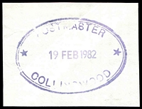 Lot 12876:Collingwood (3): - WWW #1150 50x34mm violet double-oval 'POSTMASTER/19FEB1982/COLLINGWOOD' (ERD). [Rated 3R - The first offered by us.]  PO 15/11/1865.