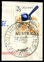 Lot 2810:Collingwood North (2): - WWW #10A 'COLLINGWOOD NTH N.5/14JY65/VIC-AUST' on 2/5d Blue Wren. [Rated S]  PO 4/10/1948; LPO 5/7/1993.