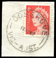 Lot 2834:Cosgrove: - WWW #30B 'COSGROVE/12AP67/VIC.-AUST.', on 4c red QEII. [Rated R]  PO 5/12/1888; closed 28/9/1979.