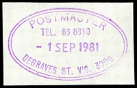 Lot 13091:Degraves Street: - WWW #910 violet double-oval 'POSTMASTER/TEL. 63 8810/1SEP1981/DEGRAVES ST. VIC. 3000', (ERD). [Rated 3R]  Replaced Commerce House PO 19/11/1956; replaced by Flinders Lane PO 29/8/1986.