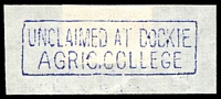 Lot 2913:Dookie Agricultural College: - violet boxed 'UNCLAIMED AT DOOKIE/AGRIC.COLLEGE'.  PO 1/4/1924; renamed Dookie College PO 1/3/1984.