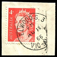 Lot 13352:Elwood (1): - WWW #70 23mm experimental type 'ELWOOD S.3/PM/AU11/66/VIC-AU[ST]', on 4c red QEII. [Rated R]  PO 31/3/1914; renamed Elwood Delivery Centre DC 1/4/1999.