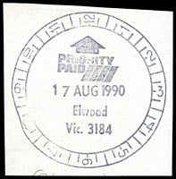 Lot 2947:Elwood (1): - WWW #710 12-hr clock 'PRIORITY/PAID/17AUG1990/Elwood/Vic. 3184'.  PO 31/3/1914; renamed Elwood Delivery Centre DC 1/4/1999.