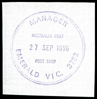 Lot 15455:Emerald: - WWW #505 violet double-circle 'MANAGER/AUSTRALIA POST/27SEP1996/POST SHOP/EMERALD VIC. 3782' (ERD).  PO 22/12/1899.