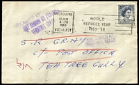 Lot 15532 [1 of 2]:Ferntree Gully (1): - violet 'NOT KNOWN BY POSTMEN/FERNTREE GULLY' (B1-) and violet boxed 'UNCLAIMED AT/FERNTREE GULLY' (B2) on face on unclaimed cover addressed to Tea Tree Gully, franked with 5d blue QEII, 14 June 1960 Melbourne slogan cancel.  PO 1/1/1873; renamed Ferntree Gully South PO 15/4/1967.