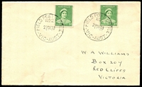 Lot 2975:Field P.O. No.2: - WWW #10 2 strikes of 'FIELD POST OFFICE/NO 2/29SE38/VIC-AUST' on 1d green QE x2 on cover, addressed to Red Cliffs. [Rated R]  PO 29/9/1938; closed 29/9/1938.