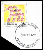 Lot 2987:Flinders Lane: - WWW #540 'POSTAL MANAGER/13FEB1992/FLINDERS LANE VIC 3000' (ERD) on 15c Living Together. [The first offered by us.]  Replaced Degraves Street PO 1/9/1986.