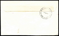 Lot 3006 [2 of 2]:Frankston (1): - violet rectangle 'UNCLAIMED AT/FRANKSTON' and violet pointed-finger x2 on face of cover cancelled with red 7c Postage Paid meter for Royal Victorian Institute for the Blind.  PO 1/9/1857; renamed Frankston Business Centre BC 29/5/1995.
