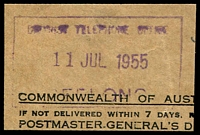 Lot 2909:Geelong (1): - WWW #1220 violet rectangle 'DISTRICT TELEPHONE OFFICE/11JUL1955/GEELONG'. [Rated 3R]  PO c.-/6/1840; replaced by Geelong Business Centre BC 22/7/1994.