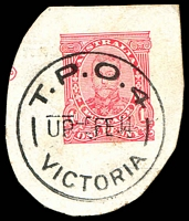 Lot 17643:T.P.O. 4: 'T.P.O.4/UP5FE14/VICTORIA' WWW #60 (arcs 6,6) on 1d cut-out.  PO 1/1/1866; closed 17/9/1917