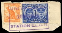 Lot 888:Unit Postal Station violet boxed 'UNIT POSTAL/16MAR1945/STATION E.L.C.12' (Greenslopes, Qld), on ½d Roo & 3½d Gloucester. [Rated 100 by Proud]  PO 18/9/1951; closed 31/12/1973.