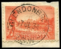 Lot 853:Glendonbrook: - 'GLENDONBROOK/17JL34/N.S.W' on 2d Vic Centenary (corner fault).  PO 1/1/1874; closed 31/8/1976.