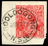 Lot 860:Gooloogong: - 'GOOLOOGONG/29NO29/N.S.W' on 1½d red KGV.  Renamed from Goolagong PO c.1924.