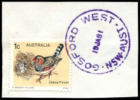 Lot 1264:Gosford West: - 'GOSFORD WEST/19JA81/NSW-AUST' in violet on 1c Finch.  PO 1/11/1966.