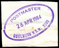 Lot 5908:Goulburn: - violet double-oval 'POSTMASTER/26APR1984/GOULBURN N.S.W. 2580'.  PO 1/2/1832.