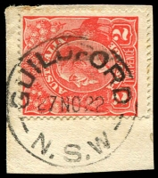 Lot 875:Guildford (2): - 'GUILDFORD/27NO22/N.S.W' (type 2A) on 2d red KGV.  Renamed from Guildford R.S. PO 13/8/1906.