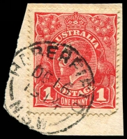 Lot 881:Haberfield: - framed 'HABERFIELD/DE16/1914/N.S.W' on 1d red KGV.  PO 1/10/1903.