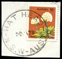 Lot 6643:Hat Head: - 'HAT HEAD/20JA78/N.S.W.-AUST' on 18c Flower.  PO 2/9/1946.