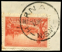 Lot 6536:Hernani: - 'HERNA[NI]/16MY35/N.S.W' on 2d Vic Centenary.  Replaced Wirrialpa PO 15/9/1902; closed 27/5/1975.