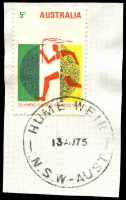 Lot 6557:Hume Weir (2): - 'HUME WEIR/13AU75/N.S.W-AUST' on 5c Olympics.  PO 1/8/1952; closed 7/3/1985.