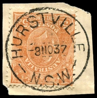 Lot 915:Hurstville (2): - 'HURSTVILLE/8NO37/N.S.W.' (type 2C - ERD by 7 years) on 5d brown KGV.  Renamed from Hurstville Railway Station PO 1/12/1889; renamed Hurstville Business Centre BC 31/8/1992.
