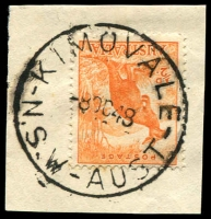 Lot 1294:Kimovale: - 'KIMOVALE/8OC48/N.S.W-AUST' (ERD by 4 years) on ½d Roo.  PO 1/3/1945; closed 30/4/1963.