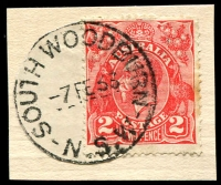 Lot 1340:South Woodburn: - 'SOUTH WOODBURN/7FE33/N.S.W' on 2d red KGV (cut-to-shape).  PO 1/7/1883; renamed Woodburn PO 18/2/1935.