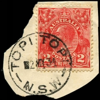 Lot 1134:Topi Topi: - 'TOPI TOPI/2MY34/N.S.W' on 2d red KGV.  RO 8/2/1909; PO 1/6/1910; closed 30/9/1963.
