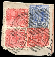 Lot 5453:1034: 4 partly overlapping strikes of BN on 1d Arms x3 (1x pair) & 2d blue on registered piece.  Allocated to Ultimo-PO 1/7/1880; closed 30/8/1985.