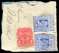 Lot 5461:1087: 3 strikes of BN on 1d Arms & 2d blue x2 on registered piece. [Rated SS]  Allocated to Tintenbar-PO 18/7/1881; closed 30/6/1971.