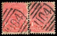 Lot 1120:1104: 2 strikes of 2nd type BN (numbers 7mm high) on 1d Arms pair.  Allocated to Redmyre-PO 16/10/1881; renamed Strathfield PO 1/4/1886.