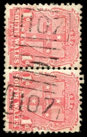Lot 6089:1107: 2 strikes of BN on 1d Arms pair.  Allocated to Grong Grong-Renamed from Grong Grong R.S. PO 1/11/1881; renamed Grong Grong R.S. PO 16/1/1884; renamed Grong Grong PO 1/1/1898.