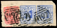 Lot 6116:1197: 3 strikes of BN on 1d Arms & 2d blue pair.  Allocated to Mobb's Hill-PO 1/7/1883; renamed Carlingford PO 16/7/1883; closed c.1995.