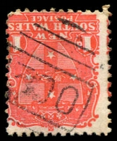 Lot 1129:1300: '1300' 1st type (numerals 5½mm high) on 1d Arms. [Rated SS]  Allocated to Botany Road-RO 1/12/1875; PO 15/8/1885; replaced by North Botany PO 10/8/1890; renamed Mascot PO 7/12/1911.