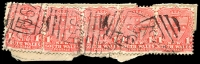 Lot 1138:1567: several overlapping strikes of BN on 1d Arms x5.  Allocated to Rous Mill-PO 8/9/1890; closed 29/4/1967.