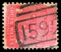 Lot 771:1592: '1592' BN on 1d Arms.  Allocated to Byron Creek-PO 16/1/1891; renamed Bangalow PO 1/10/1894.