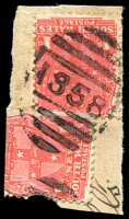 Lot 776:1858: BN on 1d Arms x2 (1x faulty). [Rated 4R]  Allocated to New Park-PO 1/12/1897; replaced by Kyogle PO 27/1/1903.