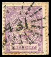 Lot 4954:431: rays (5x11½mm) on 1d Centennial.  Allocated to Dovedale-PO 1/1/1865; renamed Fernmount PO 16/1/1871; closed 11/3/1983.