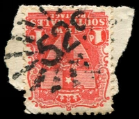 Lot 5383:529: rays on 1d Arms.  Allocated to Louth-PO 4/8/1873; closed 28/6/1991.