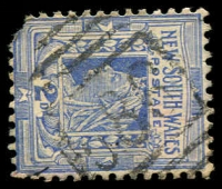 Lot 5390:586: '586' BN on 2d blue (missing corner). [Rated SS]  Allocated to Bowraville-PO 1/8/1870.