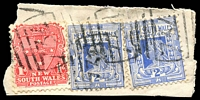 Lot 726:734: 3 strikes of BN on 1d Arms & 2d blue x2.  Allocated to Lake Cudgellico-PO 1/9/1874; renamed Cargelligo PO 15/8/1915.