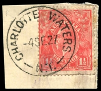 Lot 1287:Charlotte Waters: - 'CHARLOTTE WATERS/4SE27/N.T.' on 1½d red KGV. [Rated R]  PO 1/1/1878; TO c.-/8/1930; closed 21/8/1938.