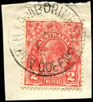 Lot 1513:North Tamborine: - 'NORTH TAMBORINE/6JA34/QUEENSLAND' on 2d red KGV.  PO c.1922.