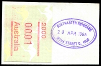 Lot 1527:Roma Street: - 21x31mm violet double-oval 'POSTMASTER BRISBANE/28APR1986/ROMA STREET Q. 4000' on 1c Frama. [Unrecorded]  Renamed from Markets Brisbane PO 7/9/1964.