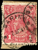 Lot 1528:Sarina: - 'SARINA/2APR19/QUEENSLAND' on 1d red KGV, partly o/struck with a second strike.  Renamed from Plane Creek PO c.-/8/1907.