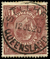 Lot 9238:Sellheim: - 'SELLHEIM/12JL20/QUEENSLAND' on 1½d brown KGV.  Renamed from Triangle RO c.1888; PO c.1896; closed 31/8/1979.